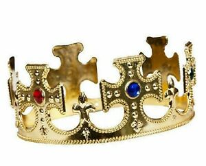 Kids Gold King Crown Soft Metallic Fabric Jewelled Fancy Dress Costume Accessory