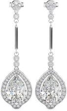 925 Sterling Silver Art-deco Ladies Tear Drop Bridal Earrings