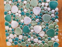 green and white round ceramic mosaic indoor or outdoor tiles pebble teal