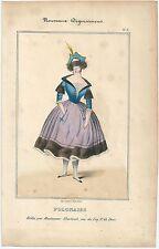 1850ca POLONAISE litografia gommata costumes Polish woman kostiumy Polski kobiet