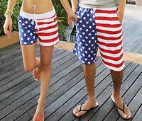 Men Women Star Stripe American Flag Swim Board Shorts Trunks L XL 2XL