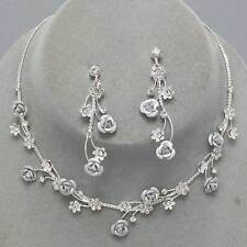 Silver rose vine necklace set sparkly diamante prom bridal party jewellery 0410
