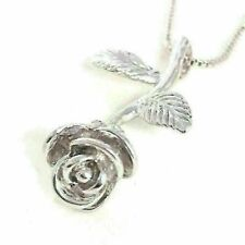 White Gold Plated Rose Flower Charm Pendant Necklace with Chain