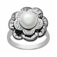 8 mm Freshwater Pearl and 1/8 ct Diamond Flower Ring in Sterling Silver