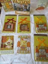 """lot of 11: Mary Engelbreit Autumn 3 1/2"""" X 3 1/2"""" Magnetic frame,cards,book"""