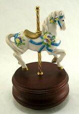 San Francisco Music Box Company Carousel Horse White Purple Pansy Lara's Theme