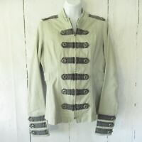 Tripp NYC Military Jacket L Large Gray Zip Up Fitted Gothic Punk Rocker
