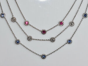 American Flag - Ruby, Diamond, and Sapphire Necklace in 18K White Gold