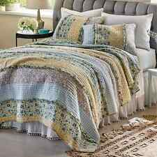 3p Bluebell Ditzy Ruffle KING Quilt Set floral gingham yellow Country farmhouse