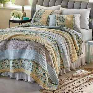 3pc Bluebell Ditzy Ruffle KING Quilt Set floral gingham yellow Country farmhouse