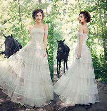 Lace Portrait/Off-Shoulder A-line Sleeve Wedding Dresses