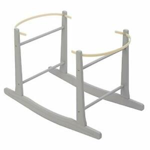 NEW Grey Standard Rocking Moses Basket Stand For Babies With Adjustable Straps
