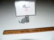 """Vintage Pewter Fox Mother with Pup Figurine Statue Miniature 2"""" Long"""
