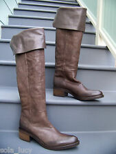 VIC MATIE Italy Brown Leather Over The Knee Cuffed Boots Size 41 $598 RARE MINT!