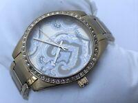 Fossil Women Watch Gold Tone Crystal Accents Bezel Analog 5 ATM Wrist Watch
