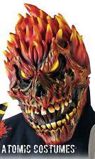 Flame Devil Mask Halloween Fire Skull Red Skeleton Scary Creepy Monster Adult