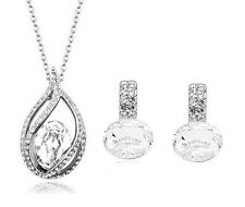 Bridal Jewellery Set Silver & White Shiny Crystal Drop Earrings & Necklace S513