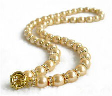 Natural South Sea oyster shell pearl necklace with a diamond-studded gold 10mm