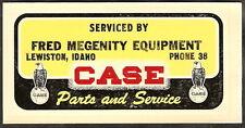 NOS Vintage 1947 Decal CASE TRACTOR Lewiston Idaho MEGENITY EQUIPMENT Service