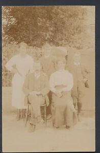 Family History Postcard - Ancestors - Family Group Posing Outdoors  RS5397