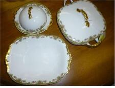 LIMOGE FRANCE SERVING PIECES: BOWL, BUTTER DISH, AND HANDLE BOWL WITH LID Used
