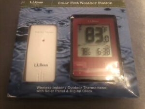 L.L Bean Solar First Weather Station Wireless Indoor Outdoor Thermometer Panel