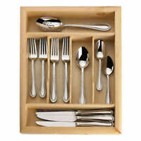 Mikasa Sinclair 65-piece Stainless Steel Flatware Set with Wood Caddy NEW