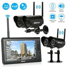 """Wireless DVR 4 Cameras+7"""" TFT LCD Monitor Home Security System IR Night Vision"""