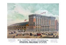 "Reading Railroad  Depot, Phialadelphia, PA Vintage Art Print 13"" x 19"" Reprint"