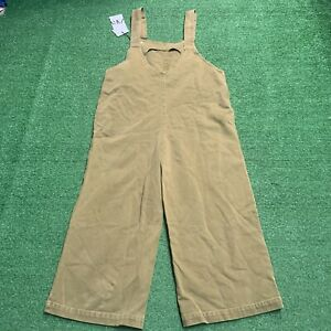 Zara Women Cargo Biege Jaime Jumpsuit Size Medium Straps Front Pocket Overalls