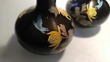 "Pair of beautiful metal vases 9"" tall blue bird yellow flowers"