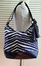 Coach Legacy Zebra Print Zip Duffle Bag A1369-23410 Marine Purple White
