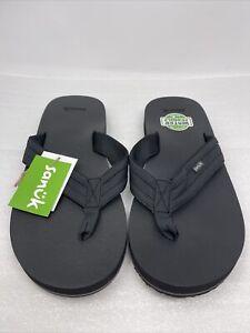 Sanuk M Ziggy Black Men's Flip Flop Casual Water Sandals 1116734, Size 11
