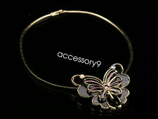 Party Jewelry crystal purple butterfly pendant hard metal necklace wedding N42