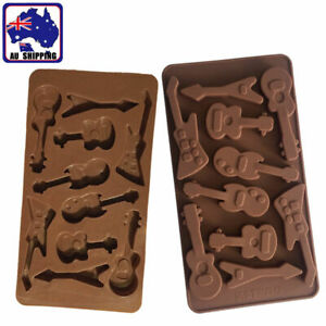 Guitar Shape Silicone Mould Make Chocolate Ice Cube Cake Topper Mold HKIM23810
