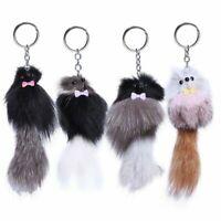 Keyring Charm Cute FAUX Fur Fox Bag Phone Handbag Car Pendant Pomp Keychain L0R2
