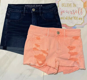 Lot of 2 American Eagle Women's Super Stretch & Distressed Shortie Shorts Size 4