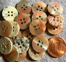 """24 New Dusty Pink & Green Pearlized Plastic Sew-through Buttons 5/8"""" 15mm # 4733"""
