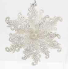 Plastic Silver White Snowflake Christmas Ornament Holiday Decoration