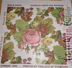 Vintage Ehrman 1992 Berlin Roses tapestry kit .