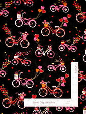 Valentine's Day Bicycle Heart Glitter Black Cotton Fabric Traditions By The Yard