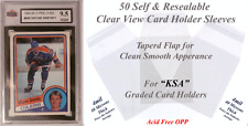 """50 Perfect Fit """"KSA"""" Graded Sports Card Holder Sleeves Sleek, Clear, & Sealable"""