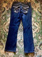 15C-👖LA Idol USA Jeans Stud Rivets Embellished Pocket Suze 9 (28x29)