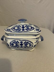 Three Hands Corp. Blue and White Ceramic Container with Lid Home Decor