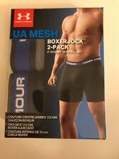 "Under Armour UA Mesh 2 Pack 6""- Boxerjock Brief 2X-Large 42-44 Black / Gray"