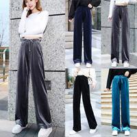Women's Winter Loose Velvet Pants Pleuche High Waist Stretch Trousers Sweatpants