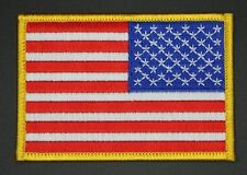 """REVERSE US FLAG PATCH w3.5""""xh2.25"""" LEFT FACING GOLD BORDER USA FLAG PATCH RFY-81"""