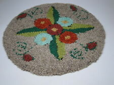 Vtg Primitive Folk Art Floral Wool Hooked Rug Chair Pad Seat Cushion Farmhouse