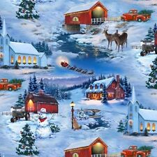 Country Christmas Fabric - Barn Snowman Covered Bridge - Elizabeth's Studio YARD