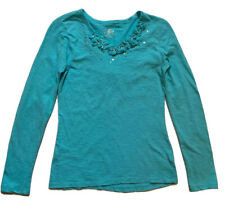 Justice Girls Turquoise Blue Sequin Flowers Long Sleeve Top/Shirt Size 14 EUC